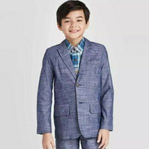 NWT Cat & Jack Boys' Chambray Suiting Jacket blue